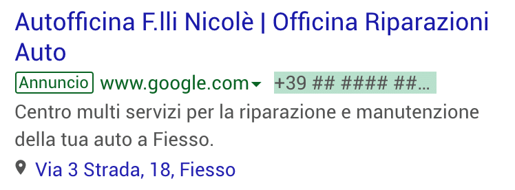 Annuncio Google Ads Autofficina Nicole 1