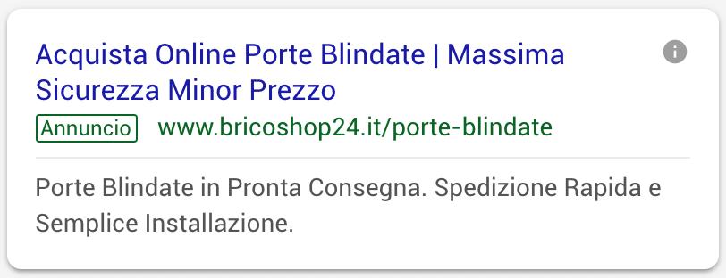 Annuncio Google Ads Bricoshop24 1