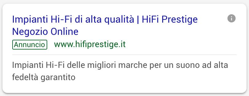 Annuncio Google Ads Hi Fi Prestige 1
