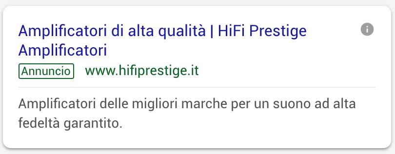 Annuncio Google Ads Hi Fi Prestige 2