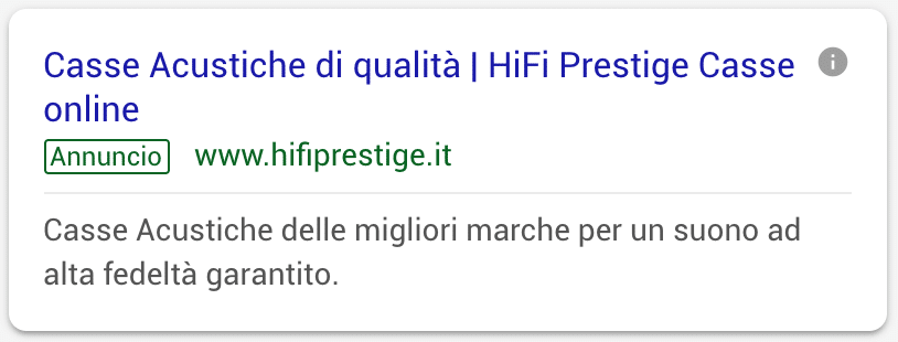 Annuncio Google Ads Hi Fi Prestige 3