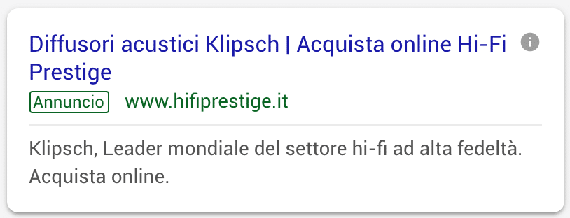 Annuncio Google Ads Hi Fi Prestige 4