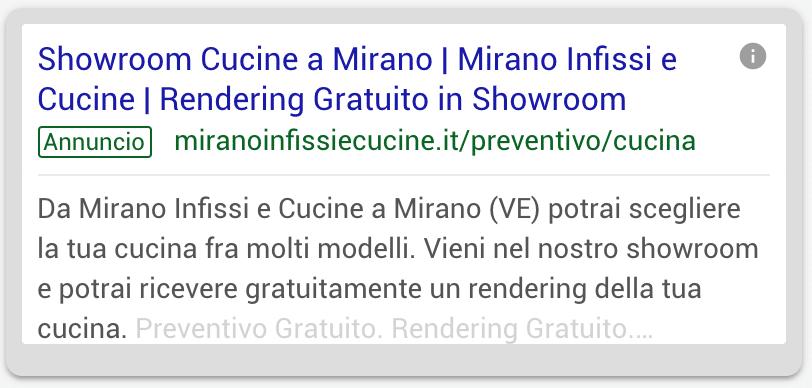 Annuncio Google Ads Mirano Infissi E Cucine 1
