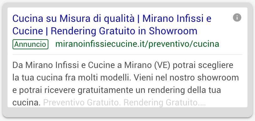 Annuncio Google Ads Mirano Infissi E Cucine 2