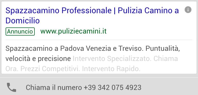 Annuncio Google Ads Pulizie Camini 3