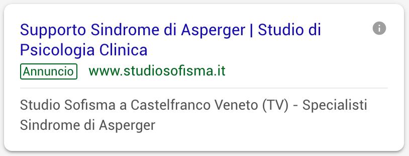 Annuncio Google Ads Studio Sofisma 6