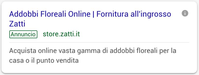 Annuncio Google Ads Zatti 1