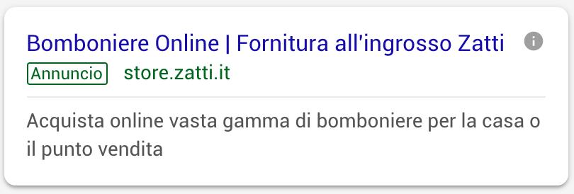 Annuncio Google Ads Zatti 2