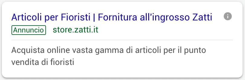 Annuncio Google Ads Zatti 3