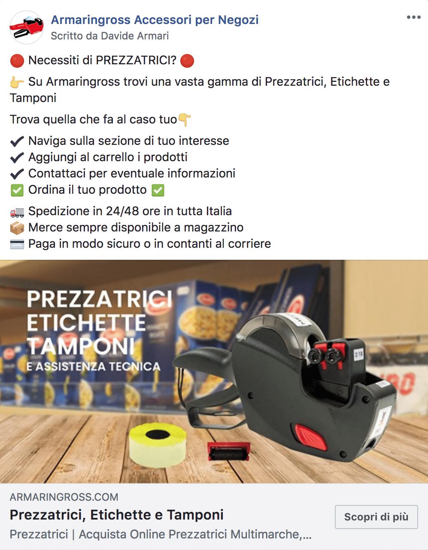 Esempio Sito EcommercePagina Facebook: Armaringross