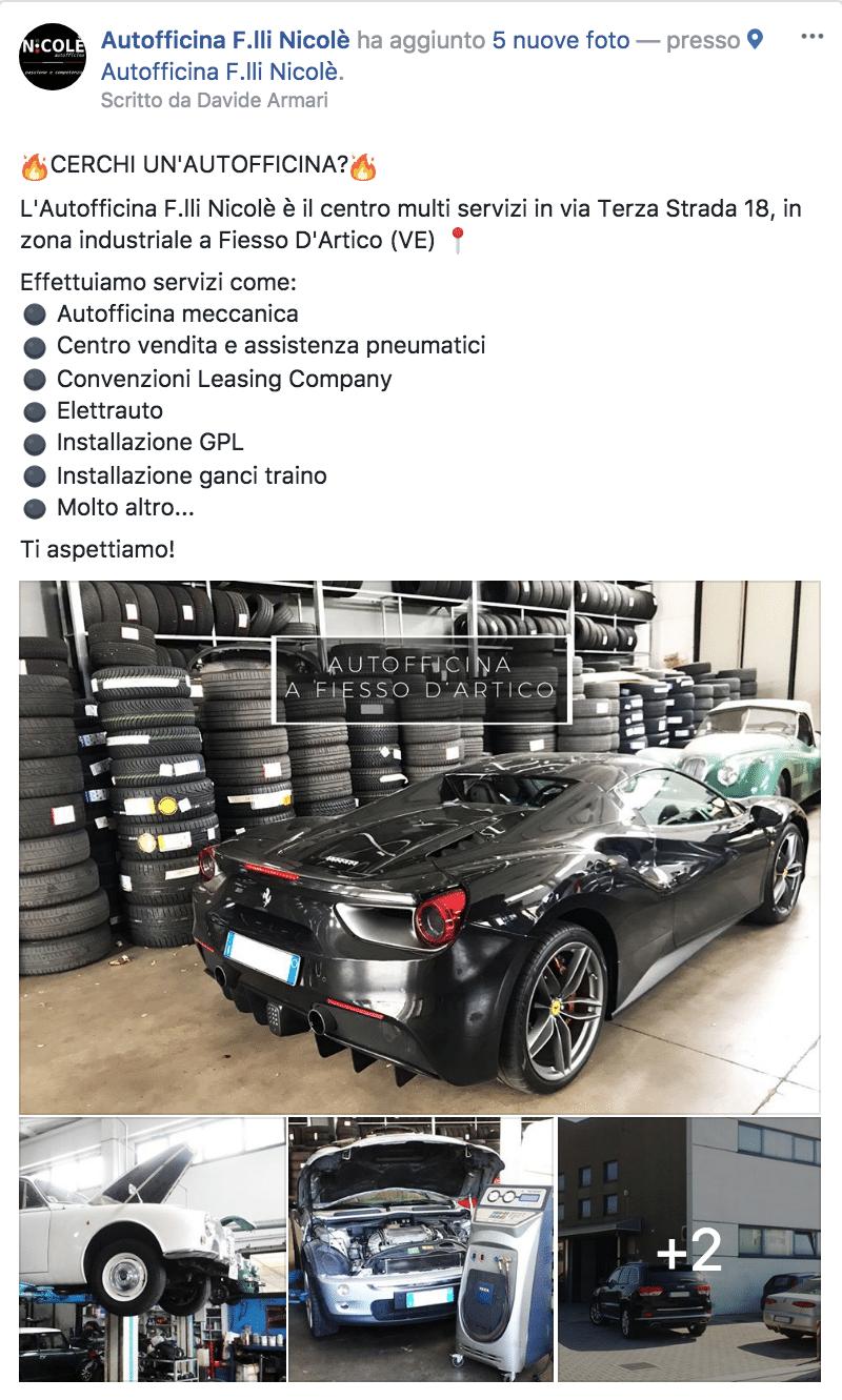 Esempio AutofficinaPagina Facebook: Autofficina F.lli Nicolè
