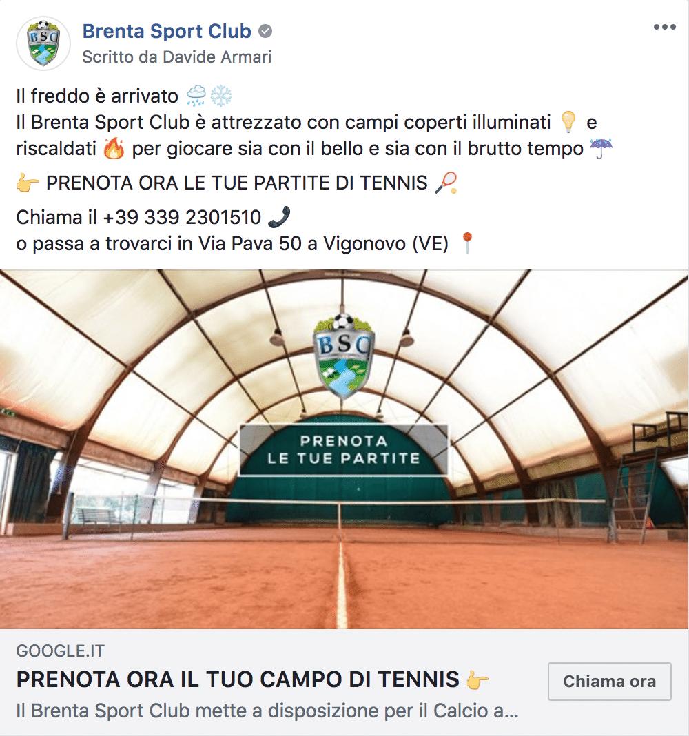 Esempio Centro SportivoPagina Facebook: Brenta Sport Club