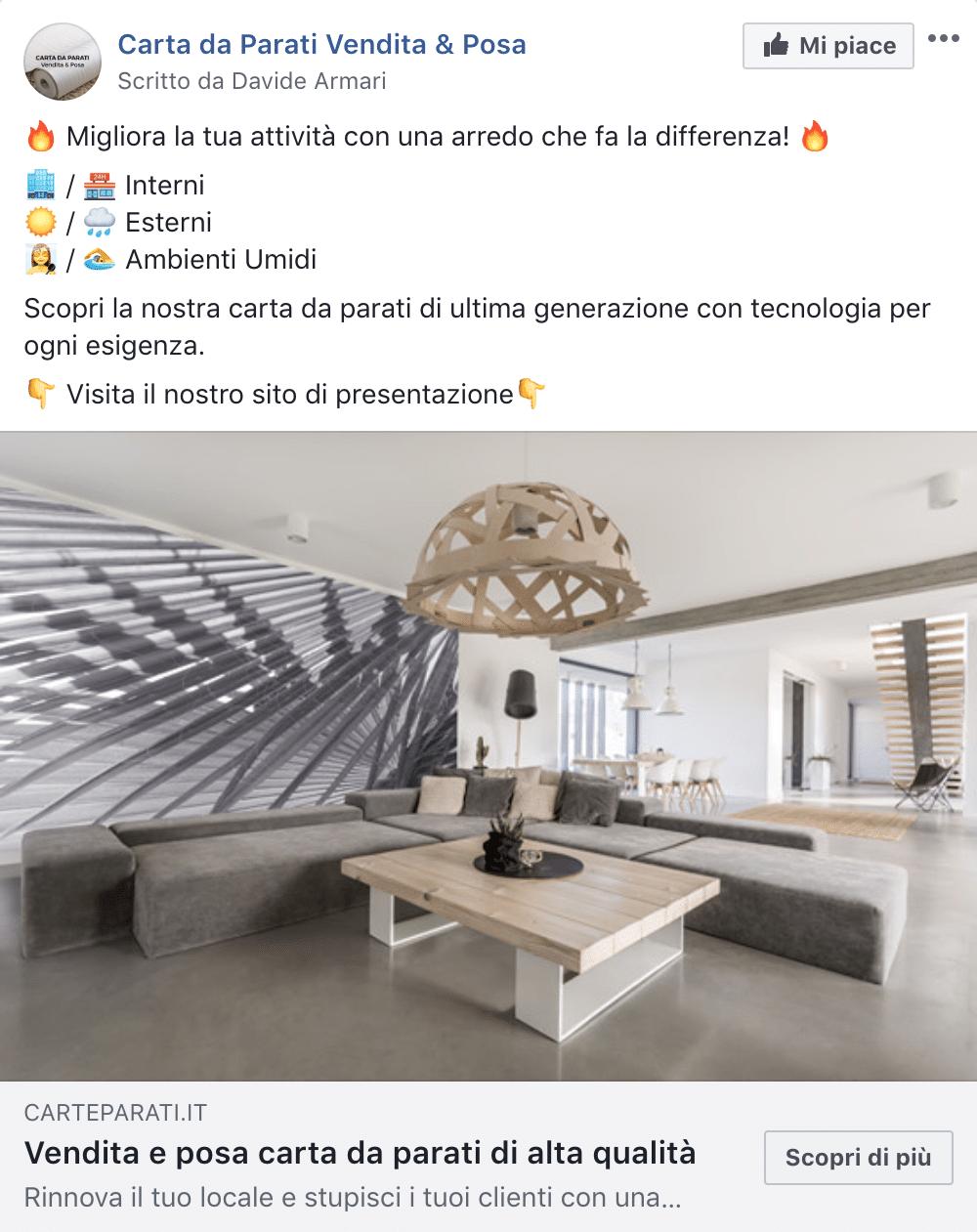Esempio Servizi per AttivitàPagina Facebook: Carta da Parati Vendita & Posa
