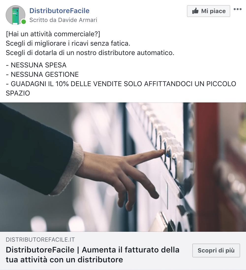 Esempio Servizi per AttivitàPagina Facebook: DistributoreFacile