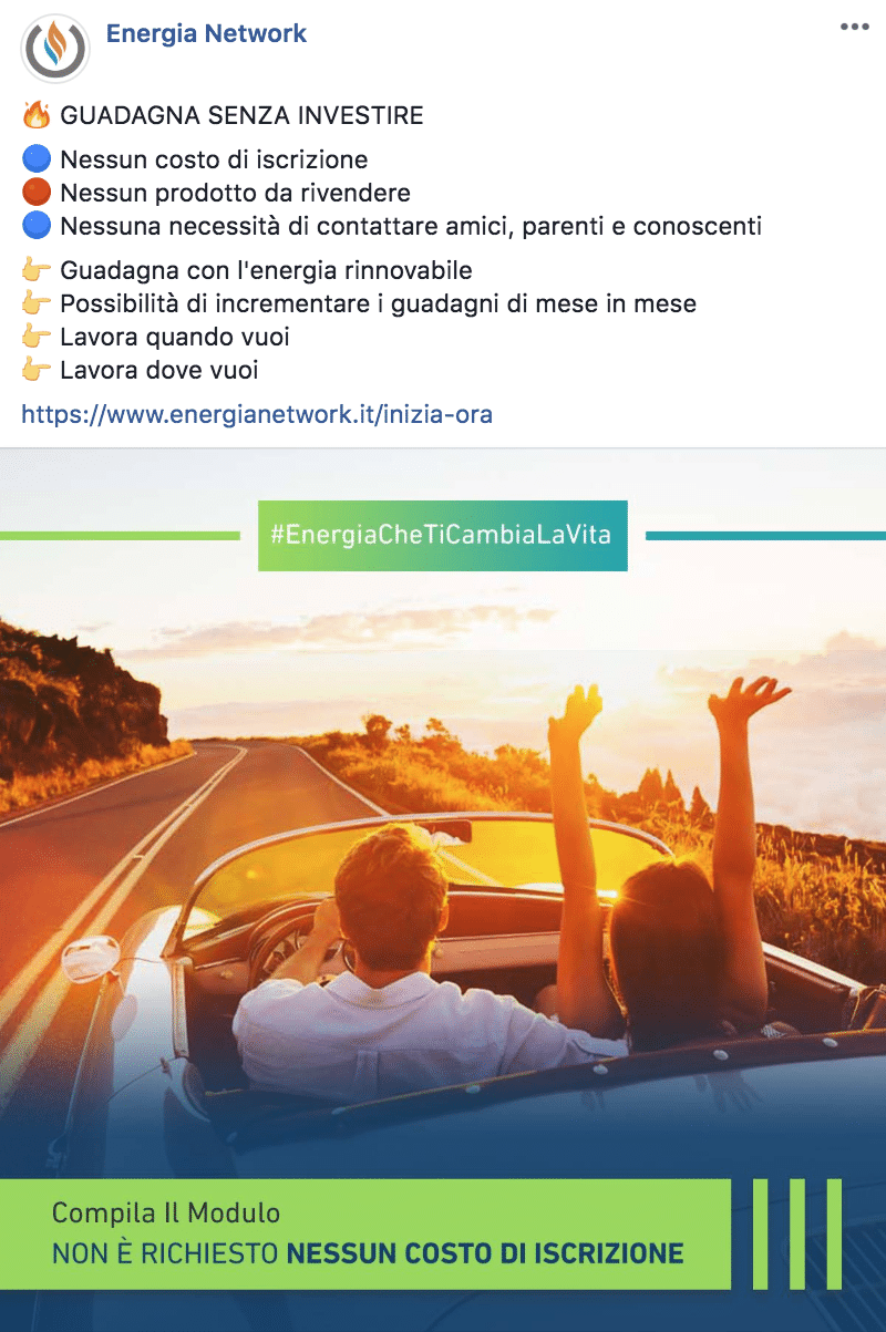 Esempio Network MarketingPagina Facebook: Energia Network