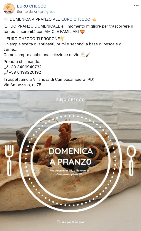Esempio RistorantePagina Facebook: Euro Checco
