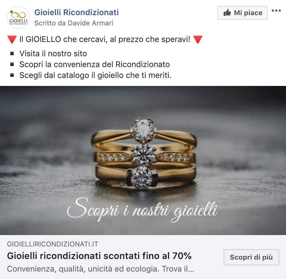 Esempio Vendita Online GioielliPagina Facebook: Gioielli Ricondizionati