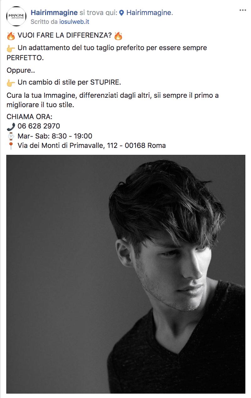 Esempio Salone di ParrucchieriPagina Facebook: Hairimmagine
