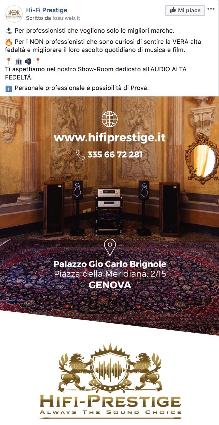Esempio Showroom Impianti Hi-FiPagina Facebook: Hi-Fi Prestige