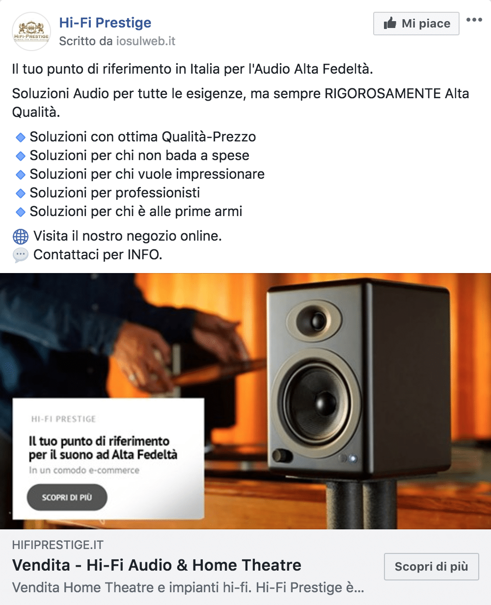 Esempio EcommercePagina Facebook: Hi-Fi Prestige