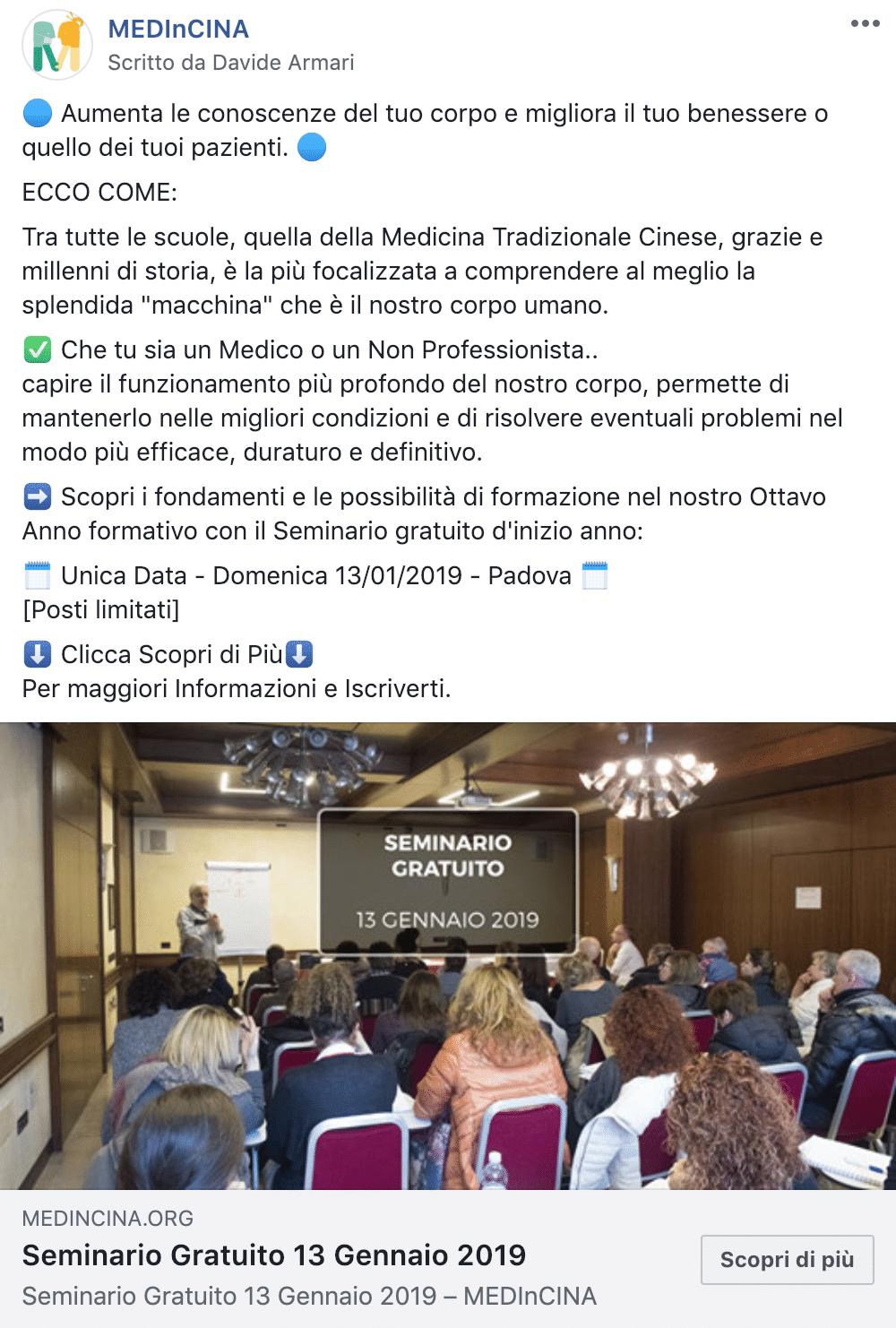 Esempio EventoPagina Facebook: MEDInCINA