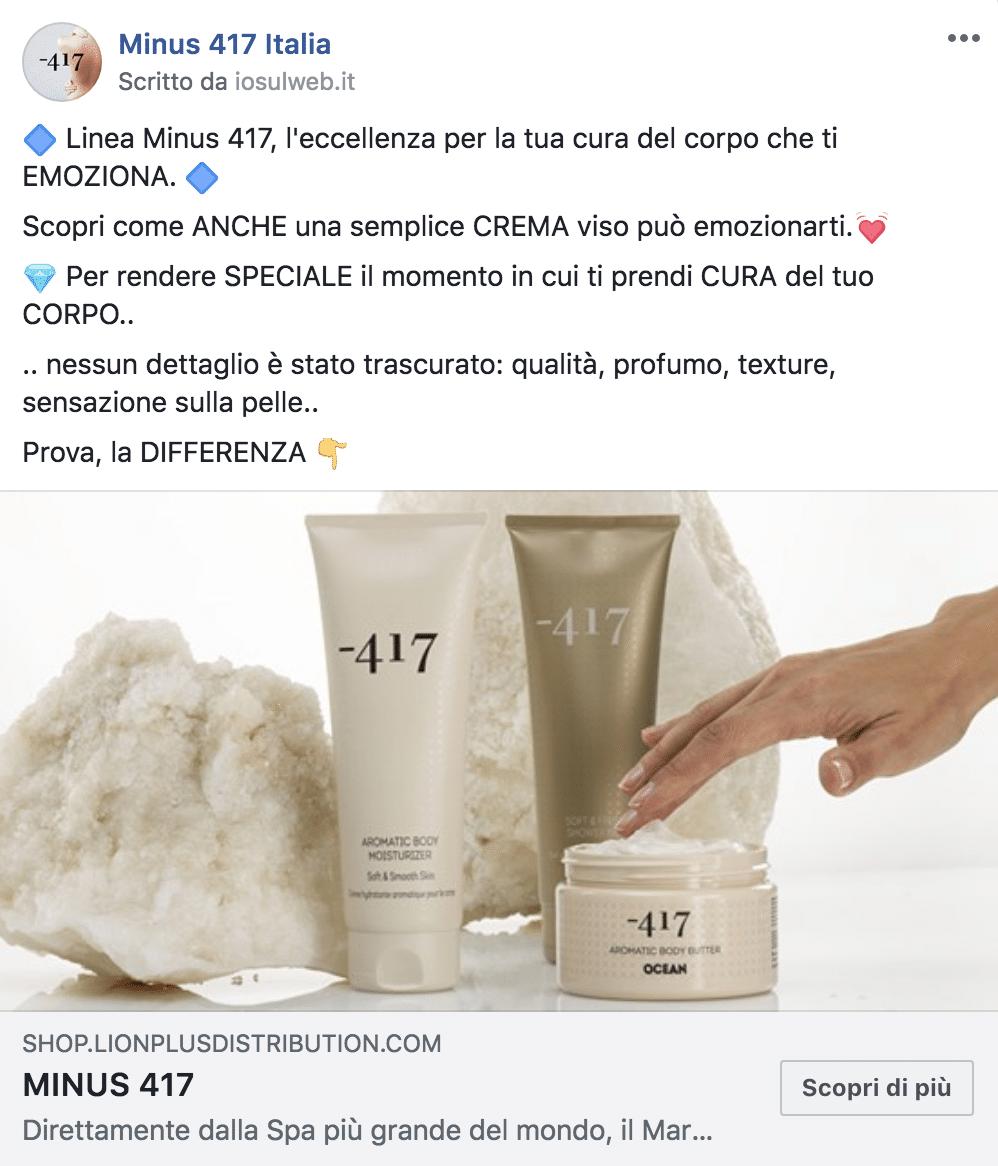 Esempio Prodotto per FarmaciePagina Facebook: Minus 417 Italia