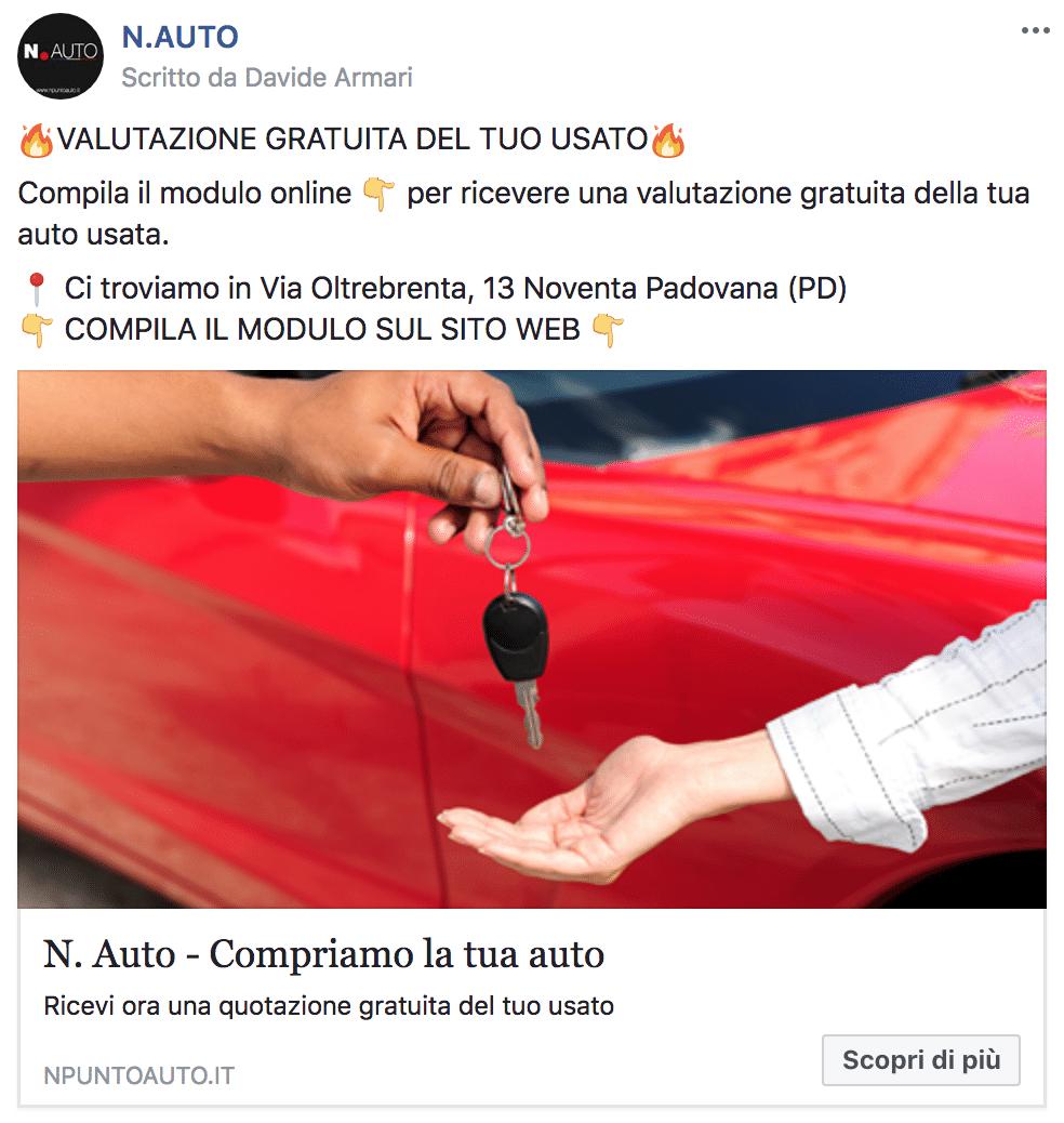 Esempio Concessionario AutoPagina Facebook: N. Auto