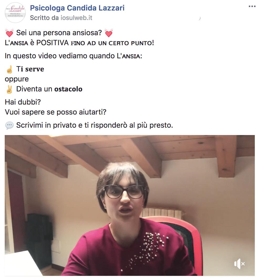 Esempio PsicologaPagina Facebook: Psicologa Candida Lazzari