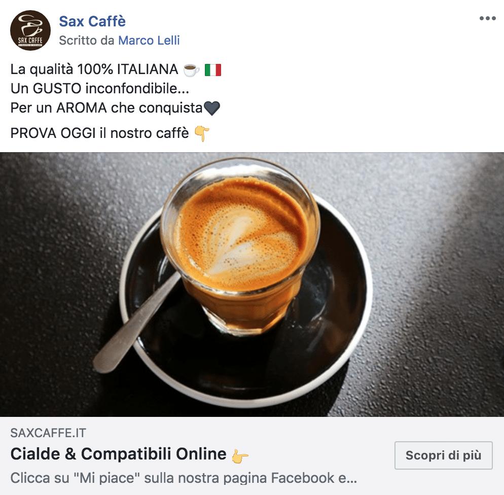 Esempio EcommercePagina Facebook: Sax Caffè