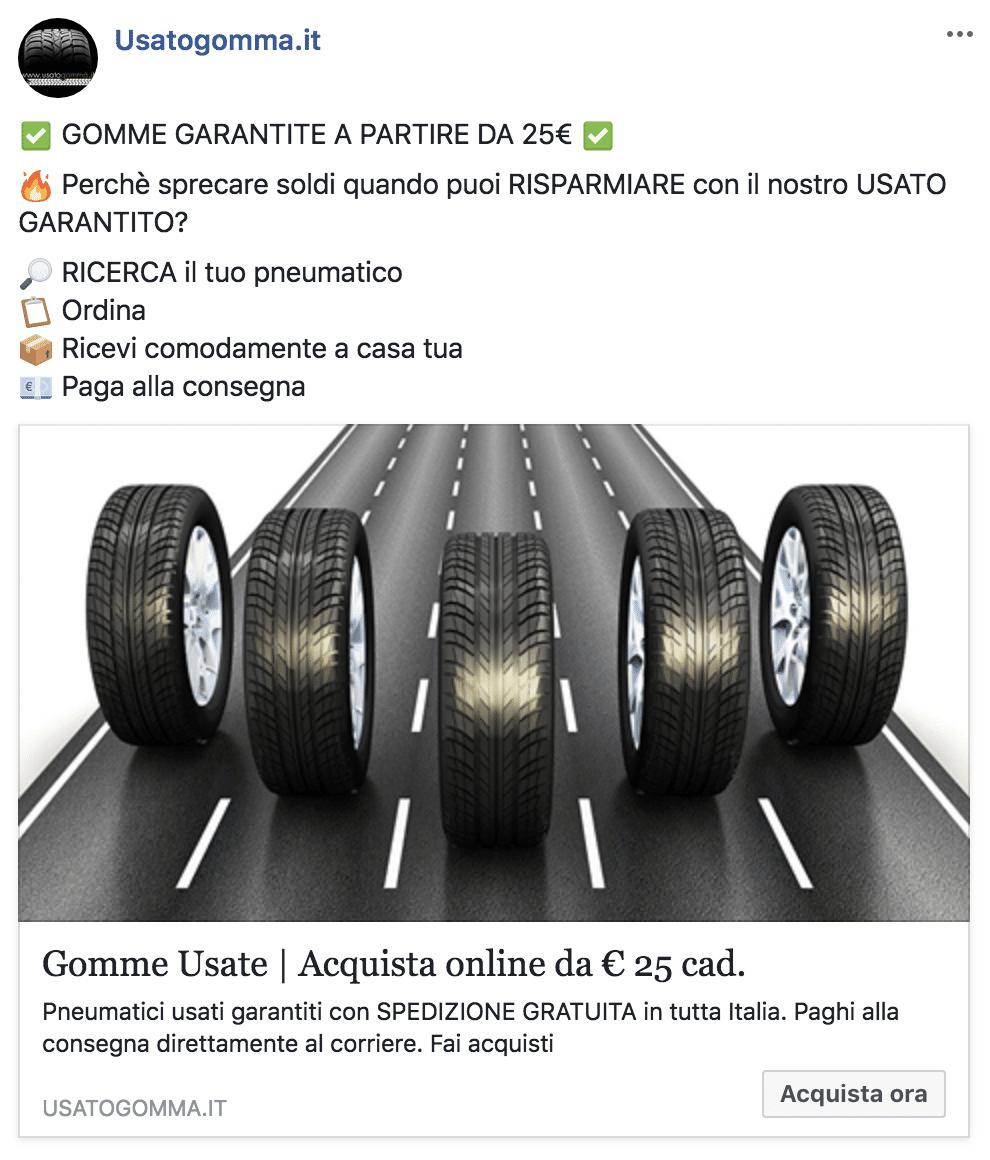Esempio Sito EcommercePagina Facebook: Usatogomma.it
