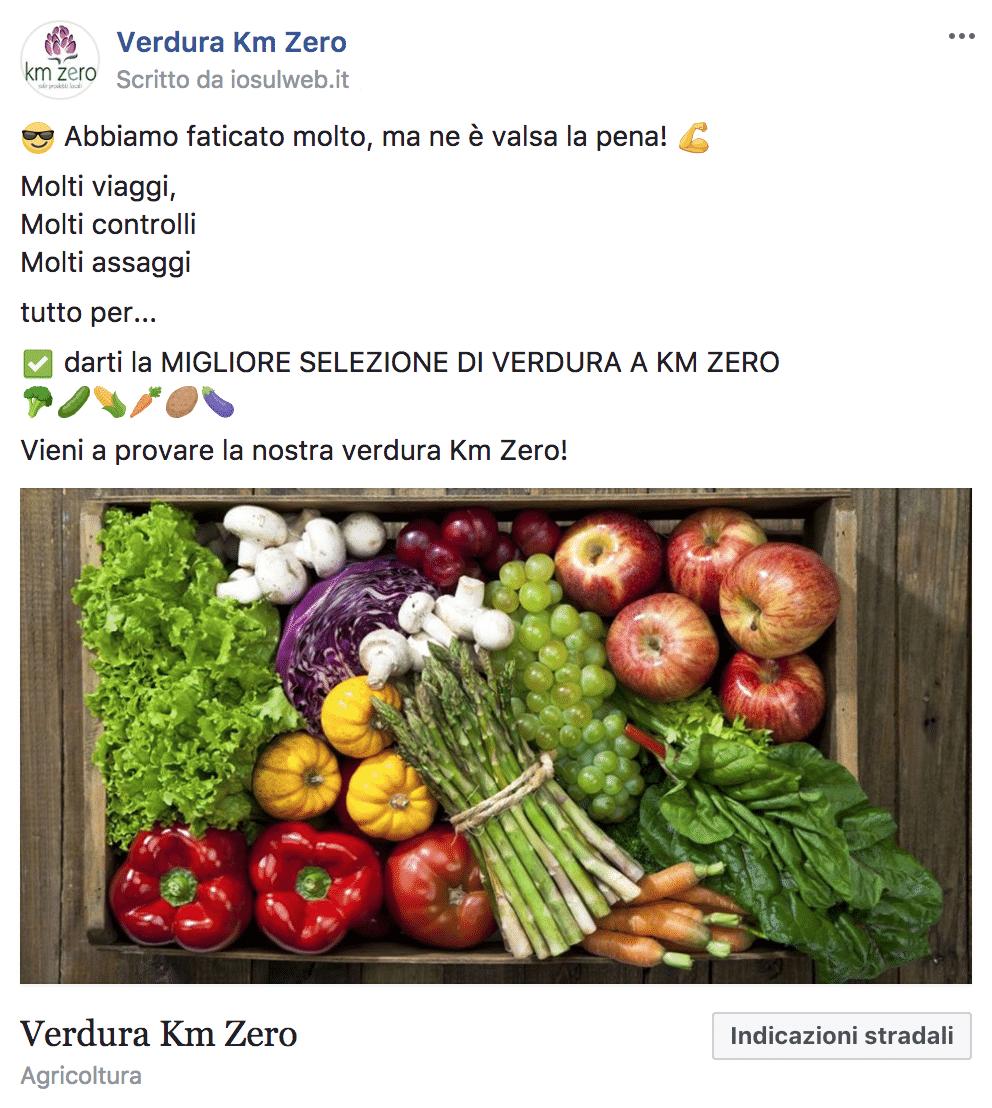 Esempio Negozio OrtofruttaPagina Facebook: Verdura Km Zero