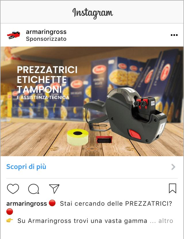 Esempio Sito EcommerceProfilo Instagram: @armaringross