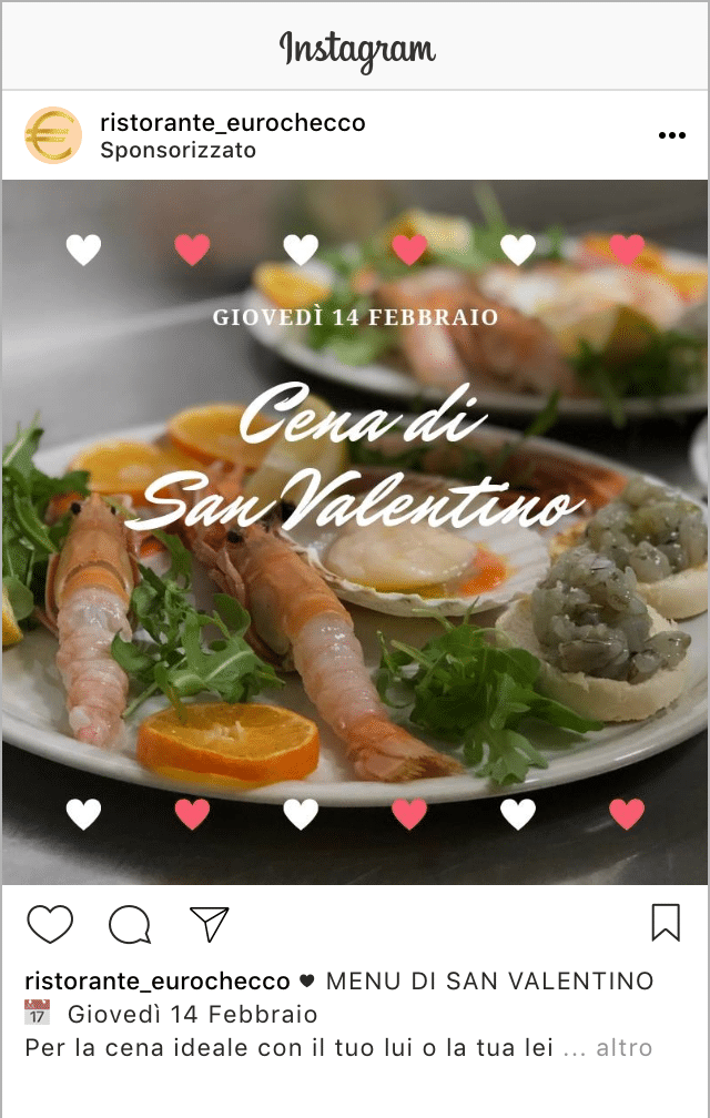 Esempio RistoranteProfilo Instagram: @ristorante_eurochecco
