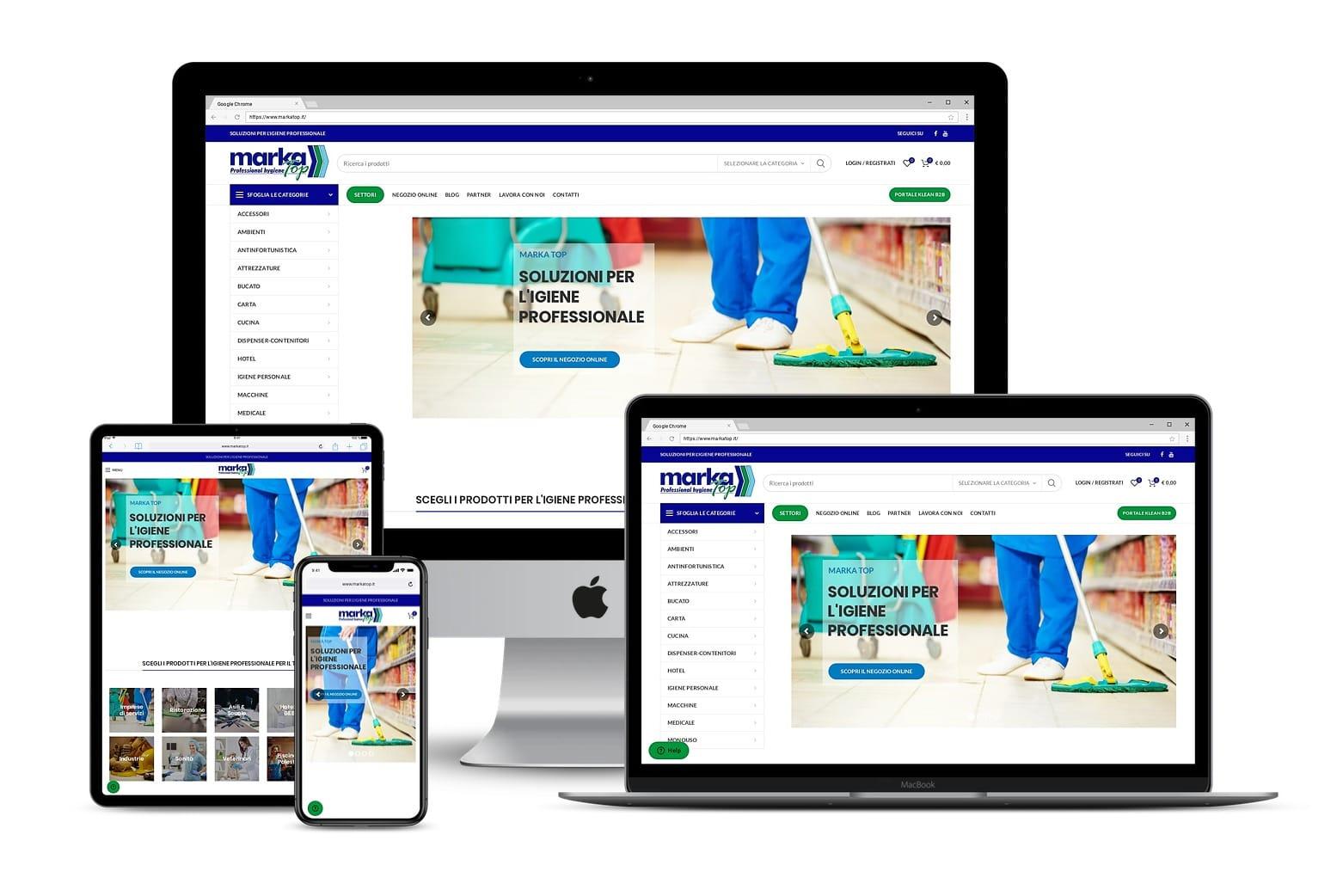 Sito Ecommerce vendita prodotti igiene professionaleLink: www.markatop.it